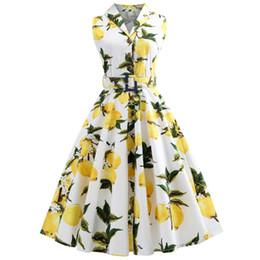 Опт Wipalo лимон печати женщины без рукавов лацкан V-НЕКК Винтаж платье рокабилли ретро Pin Up платья хлопок высокое качество Q190429