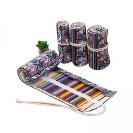 Cases rolling penCils online shopping - Student Canvas Pencil Case Ethnic Style Pencils Pouch Bag Roll Painting Pencil Case Gift Art Supplies WWA97