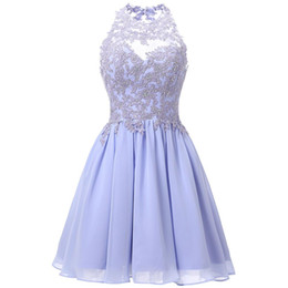 $enCountryForm.capitalKeyWord Australia - Halter Short Homecoming Dresses for Teens Chiffon Lace Appliques Juniors Prom Dresses Keyhole Back 8th Grade Party Dress