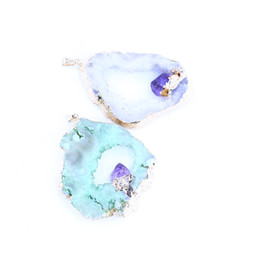 natural agate gemstone pendants Australia - Gemstone Druzy Multi Color Thickness Real Natural Stone Crystal Empty Agate Pendant LGMKX-002
