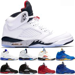 summer suede shoes mens 2019 - 2019 Men 5 5s Basketball Shoes Laney Blue Suede Bred Fresh Prince International Flight White Cement Mens Trainer Sport S