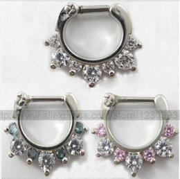 316l surgical steel nose ring NZ - Hot Unique 316L Surgical Steel Aztec Septum Clicker Nose Ring Stud Nose Piercing Stud White and Pink or White and Blue