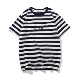 mens short jeans NZ - Jeans USA Mens Striped T shirts Summer Fashion Embroidery Designer Tees Short Sleeved Tops Clothes YX03