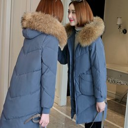 Long knee pads online shopping - women s long section new down cotton padded knee loose large fur collar coat jacket coat size S XL