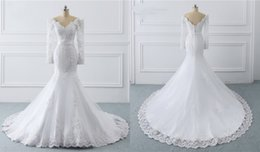 plus size purple wedding dresses photos NZ - Vintage Long Sleeves Wedding Dress Mermaid 2020 Off the shoulder Real Photo Applique Court Train Arabric Cheap Wedding Bridal Gowns New