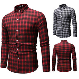 long shirt design male Australia - Red and Black Fashion Men Plaid Shirt Casual Soft Comfort Long Sleeve Business Male Checked Design Shirts Design 1801-ML57