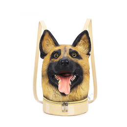 Animal Head Backpacks Australia - good quality Fun 3d Animal Pu Leather Backpack Dog Head Shoulder Bags Girls Bookbags Casual Boys Daypacks 3d Printing Large Loptop Bag