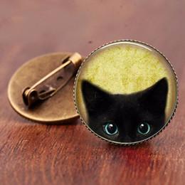 Black Cat Pin NZ - classic style Vintage black cat brooch pins jewelry Glass art Retro handmade high quality jewelry for women