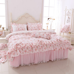 $enCountryForm.capitalKeyWord Australia - Pink Purple Floral Princess Korean Bedding set Twin Queen King size Girls Adults Bed Duvet cover skirt Pillowcase