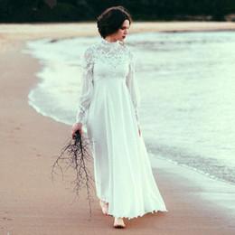 $enCountryForm.capitalKeyWord NZ - Plus Size Beach Wedding Dresses for Maternity Long Sleeves Lace Appliqued Chiffon Empire Wedding Bridal Gown