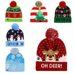 lighted hats NZ - Christmas Beanies Hat Winter New Christmas Elk Christmas Tree Flanging Ball Knit Hats With Led Colorful Lights Hat Fashion Warm Caps
