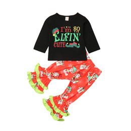 25148b979 Toddler Kids Baby Girl Xmas Print Gifts Hooded Clothes Girls Baby 2Pcs  Cotton Hoodies Tops T shirt Ruffles Pants Flared Trousers