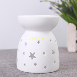 Discount candle oil burner - free shipping Incense Burner Delicate Ceramic Fragrance Lamp Fashion Hollowed Out Aroma Stove Candle Oil Furnace Home De