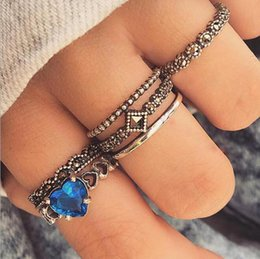 America Brass Australia - Cross-border e-commerce jewelry new best selling Europe and America love sapphire ring set 6-piece ring wholesale