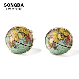wholesale personalized shirts UK - SONGDA Vintage Earth World Map Cufflinks Globe Planet Art Photo Crystal Glass Dome Shirt Cuff Links for Men Personalized Gemelos D19011003