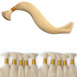 Indian Human Bulk Hair Straight Australia - Elibess Human Hair Bulk no weft Unprocessed Top Quality Indian Peruvian Brazilian Straight Hair Extension 300gr Blonde 613 Color
