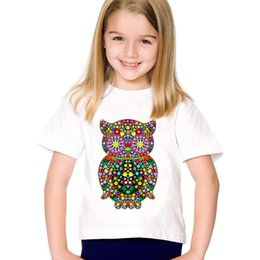 Wholesale Colorful Flowers Owl Printed Children Funny T shirts Kids Summer O Neck Tees Boys Girls Casual Great Tops Baby Clothing HKP2044