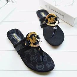 $enCountryForm.capitalKeyWord Australia - High quality Women Designer Sandals pu Leather Slippers flip flops Metal chains Summer slipper style shoes for women