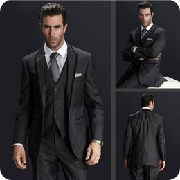 navy blue grey groom tuxedo Australia - 3Piece Jacket Pants Vest Grey Men Suits Groom Wedding Suit Man Blazers Black Peaked Lapel Itlaian Style Costume Homme Groomsmen Tuxedos