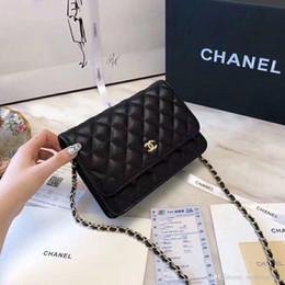 $enCountryForm.capitalKeyWord NZ - New 5A Quality Classic Women's Black Caviar Woc Clutches Crossbody Bag 33814 Lambskin Qulited Mini Flap Shoulder Bag 20cm Bridal Hand Bags