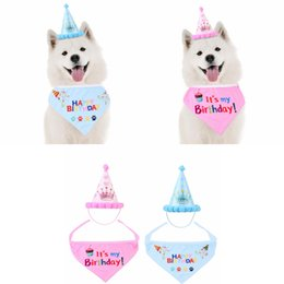 $enCountryForm.capitalKeyWord Canada - Pet Birthday Party Hat With Mouth Towel Dog Birthday princess prince Paper Caps Crown Prints Pets Supplies props 2pcs lot FFA2829