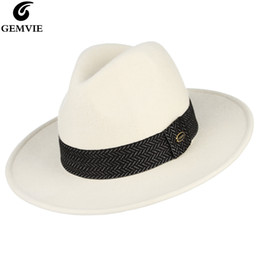 Fedora white man online shopping - GEMVIE Percent Wool White Hat Felt Fedoras With Black Band For Women Jazz Cap Wide Brim New Fashion Autumn Winter Panama Hat