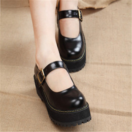 Platform Flats Women NZ - New 2019 Women Creepers PU Women Flats Platform Mary Jane Ankle Strap Casual Ladies Loafers Shoes Dropshipping