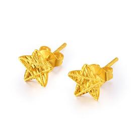 4e32fc7deaf4 Puro Au750 18 K oro amarillo Charm mujer Stud pendientes de la joyería de  cinco estrellas para las mujeres amantes regalo pendientes 8   8 mm 13 mmL