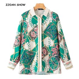 Sleeve Chain Australia - 2019 New Vintage Tassel Chain Print Shirt Woman Single-Breasted Button Long sleeve Blouse Femme Turn-Down Collar OL Blusas Tops