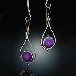 Thai earrings online shopping - Vintage Dangle Earrings For Women Purple Resin Stone Thai Silver Color Water Drop Shape Drop Earring Pendientes O4d317