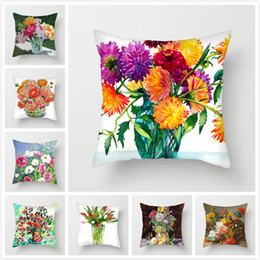 pink decorative paintings Australia - Fuwatacchi Sunflower Throw Pillows Case Oil Painting Daisy Cushion Cover for Home Chair Sofa Flowers Decorative Pillows 2019