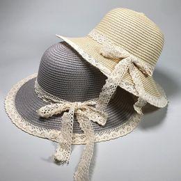 458f3cbf57698 HT2373 Summer Hat Women Elegant Lace Brim Ladies Beach Sun Hat Female Wide  Brim Floppy Straw Korea Style Big Bow Panama