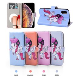 Wholesale Luxury Unicorn Mirror Wallet Card ID Slot Angel Wings Horse Flip Leather Cover Case for iphone XS MAX XR S G G PLUS Samsung S8 S9 PLUS S7