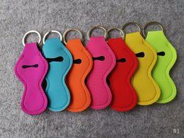 $enCountryForm.capitalKeyWord NZ - Fashion Neoprene Keychain Chapstick Holder Lip Balm Keyring For Chapstick Lipstick Tracker Bag Car Key Chain Gift Random Send Color M60Q F