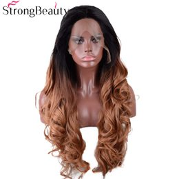 $enCountryForm.capitalKeyWord NZ - Lace Front Wavy Wigs Synthetic Long Ombre Black to Brown Heat Resistant Wig Elastic Hair