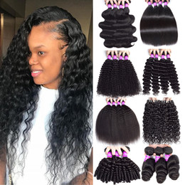 Discount 26 inch curly hair extensions - 9A Malaysian Cheap Human Hair Weave Bundles Body Wave Deep Wave Water Wave Kinky Curly Hair 4 Bundles Unprocessed Virgin