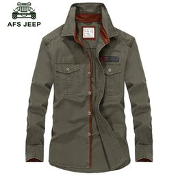 Military Collar Shirts Australia - Afs Jeep Military Long Sleeve Shirt Men Plus Size Brand Clothing 2018 Spring Autumn Plus Size 5xl Business Breakout Casual Shirt Y190506