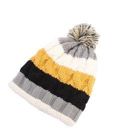 new arrival Women Knit Slouchy Beanie Chunky Baggy Hat Pompom Winter Soft  Warm Ski Cap Rainbow Stripe Delicate Gift 9e51d9f32724