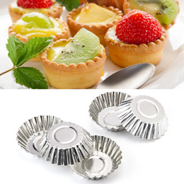 StainleSS Steel baking moldS online shopping - 20pcs Egg Tart Molds Stainless Steel Cupcake Mold Thickened Reusable Cake Cookie Mold Tin Baking Tool Baking Cups