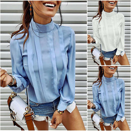 Wholesale high ruffle collar blouse for sale - Group buy Women Blouse Elegant Ladies Tops Lantern Sleeve Tee Shirt Long Sleeve Shirts Casual High Neck Tops Ladies Blouses Ruffle Shirt