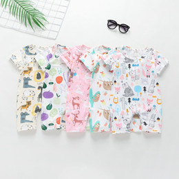 fox jumpsuit Australia - Ins Baby Boy girl Clothes Infant clothing Jumpsuits Cartoon Scrawl slooth fox bear Animals Print Romper Soft Breathable V042