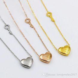 $enCountryForm.capitalKeyWord Australia - 316L Titanium Steel Key and Heart Pendant Necklaces for Women Elegant Silver Rose Gold Choker Chain LOVE Necklace fashion Jewelry Wholesale