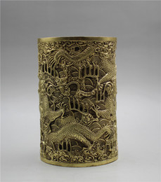 $enCountryForm.capitalKeyWord Australia - Chinese Brass Brush pot Handwork carved Dragon Pen holder w Xuande Mark