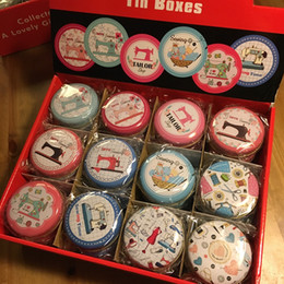 $enCountryForm.capitalKeyWord NZ - Free Shipping!36pcs lot Sewing Machine Design Mini Tin Round Storage Sewing Box Sundries Case Jewelry or Kit