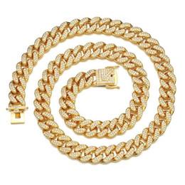 360da16d6cea 12mm Collar de Cadena de Hip Hop de Circonio Helado Cadena de hip hop Oro  Plata