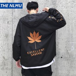 Draped Jacket Australia - 2018 A W Personality Leaf Embroidery Patchwork Jackets Men Hip Hop Warm Hooded Collar Zipper Baseball Streetwear Q0342 D19010501