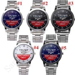 Venta al por mayor de Donald Trump 2020 Watch Wristwatch Mantenga Mantener América Great Mens Relojes de pulsera de cuarzo Metal Strap Banded Tendere Relojes Retro Presidente Regalo C91707
