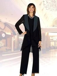 $enCountryForm.capitalKeyWord Australia - Elegant Chiffon Mother Of The Bride Pant Suits with Jacket Three Pieces Ruched Bridal wedding Guest Party Gowns Mother's Dresses