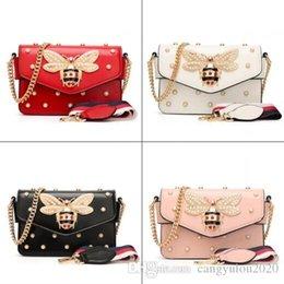 girls fashion simple handbags 2019 - Top Selling Summer New Women's Single Shoulder Bag Female Bee Pearl Bag Simple Fashion Rivet Chain Handbags Girls S