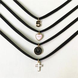 Black gothic cross pendant online shopping - Retro Charm Jewelry Women Gothic Black Lace Velvet Choker Necklace Love Cross Necklaces Pendants For Women Gifts Handmade